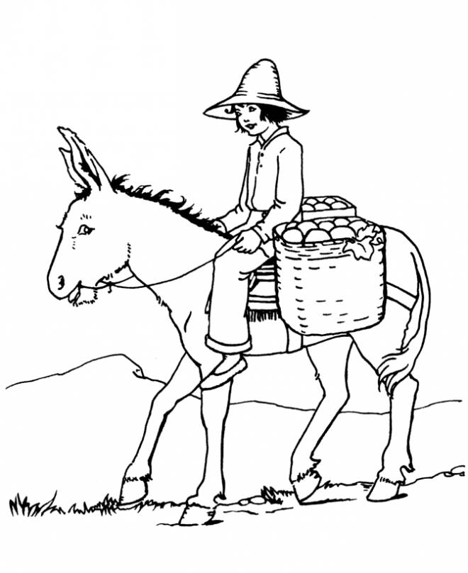 Free coloring and drawings a peasant girl on a donkey Coloring page