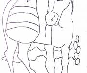 Free coloring and drawings Donkey and its luggage Coloring page