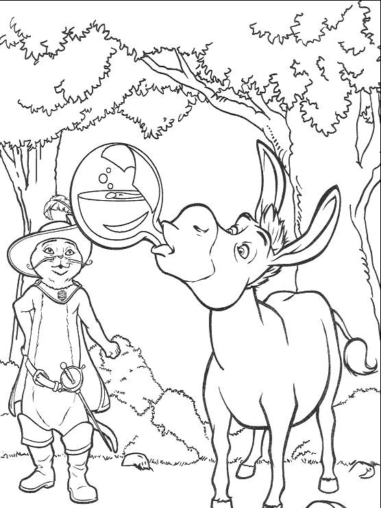 Free coloring and drawings Shrek's donkey drinks the potion Coloring page