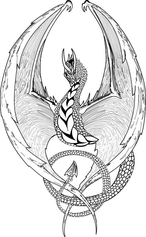 Free coloring and drawings Black and white dragon image Coloring page