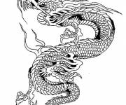 Coloring pages Chinese dragon in black and white