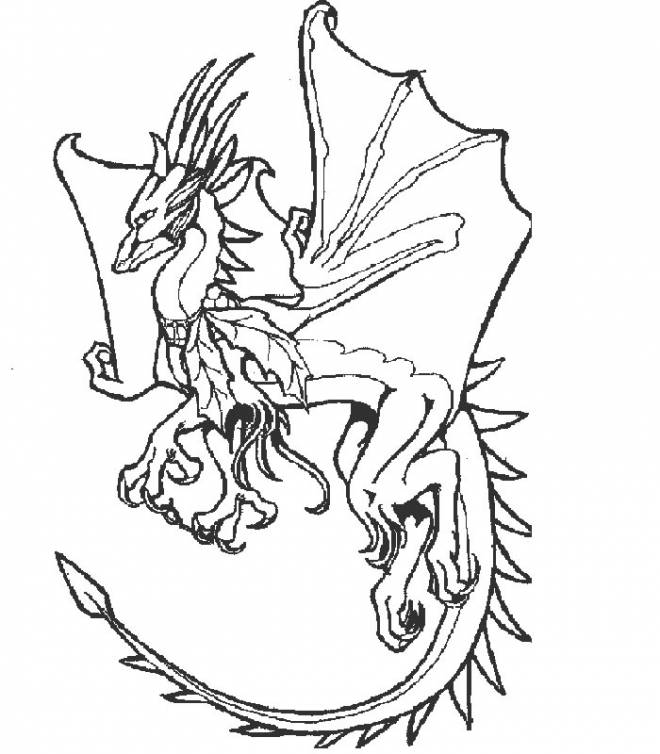 Free coloring and drawings Dragon opening his eagles Coloring page