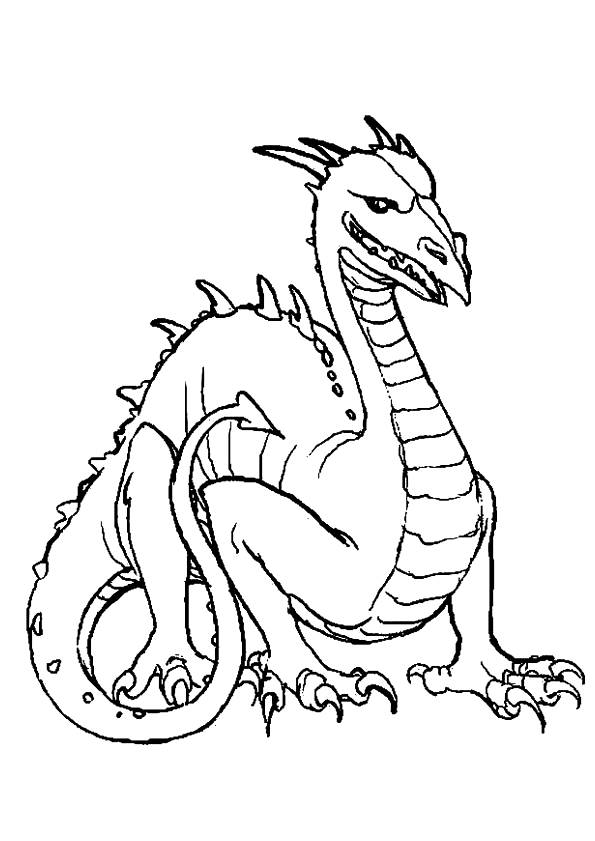 Free coloring and drawings Dragon simple drawing Coloring page