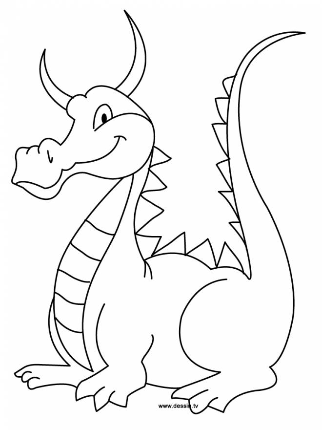 Free coloring and drawings Dragon smiling Coloring page