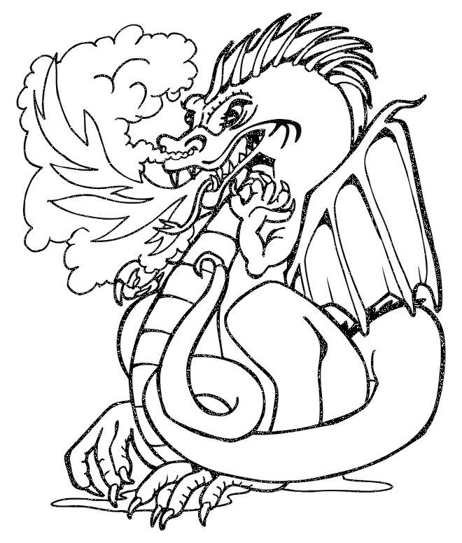Free coloring and drawings Dragon spitting fire Coloring page