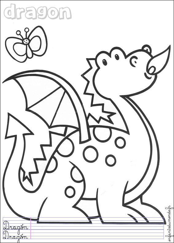 Free coloring and drawings Easy dragon Coloring page