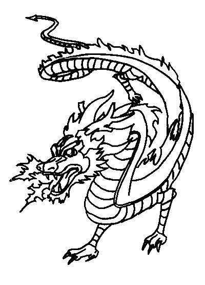 Free coloring and drawings fire Dragon Coloring page
