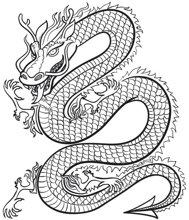 Free coloring and drawings Legendary chinese dragon Coloring page