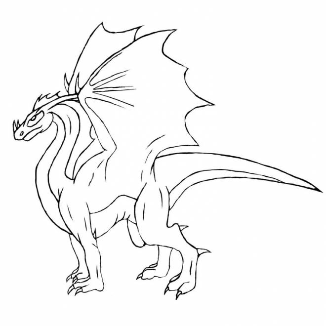Free coloring and drawings Simple Dragon Drawing Coloring page