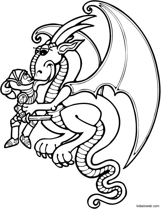 Free coloring and drawings The Dragon loves the knight Coloring page