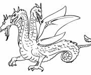 Free coloring and drawings Three headed dragon Coloring page