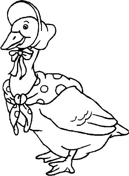 Free coloring and drawings A duck wearing a hat Coloring page