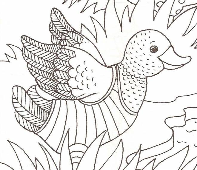 Free coloring and drawings Duckling tries to fly Coloring page