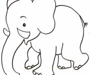 Coloring pages Black and white elephant