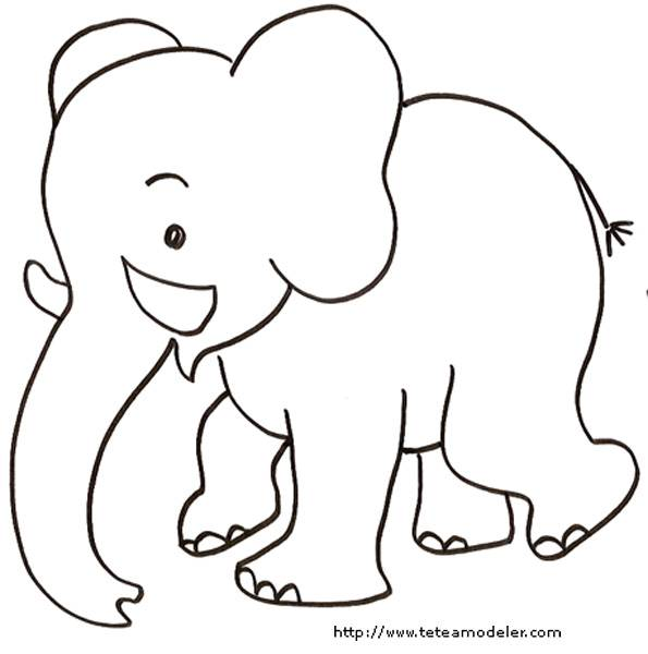 Free coloring and drawings Black and white elephant Coloring page