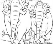 Free coloring and drawings Cartoon elephants Coloring page