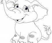 Free coloring and drawings Cute elephant Coloring page