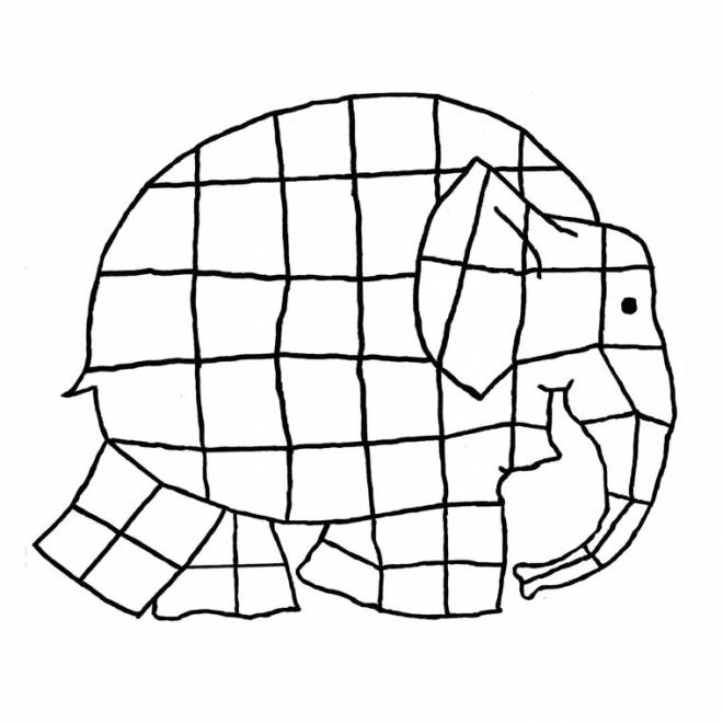 Free coloring and drawings Easy elephant Coloring page