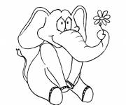 Coloring pages Elephant and flower