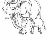 Coloring pages Elephant and its cub