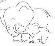 Coloring pages Elephant having fun with his cub