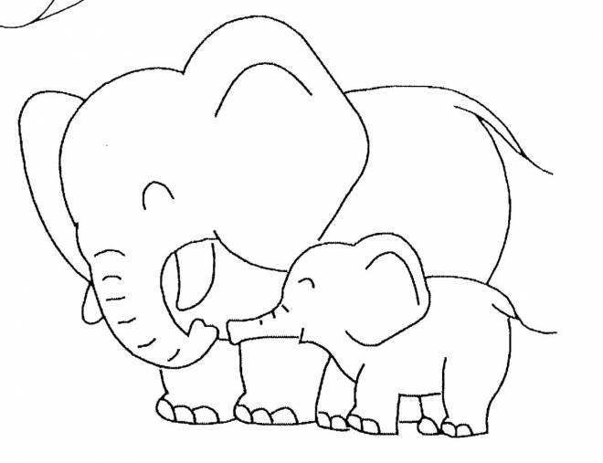 Free coloring and drawings Elephant having fun with his cub Coloring page