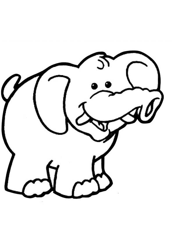 Free coloring and drawings Funny elephant Coloring page