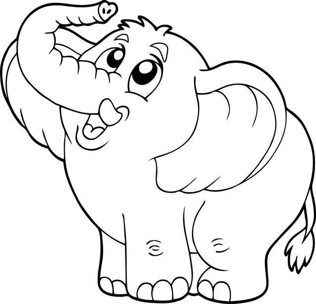 Free coloring and drawings Happy elephant Coloring page