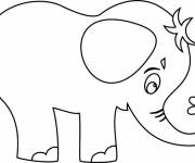 Coloring pages Little Elephant carrying a flower