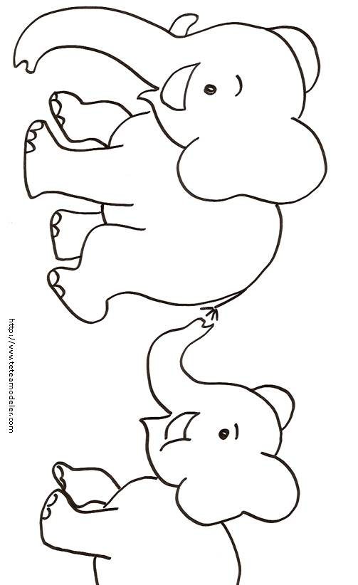 Free coloring and drawings Little Elephants Coloring page