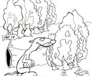 Free coloring and drawings Cartoon ferret forest Coloring page