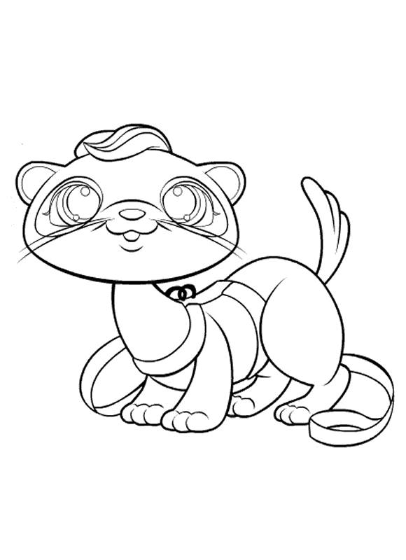 Free coloring and drawings Cute ferret Coloring page