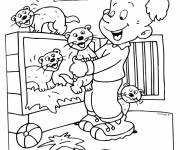 Free coloring and drawings Ferrets and child Coloring page