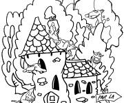 Free coloring and drawings Ferrets and their houses Coloring page