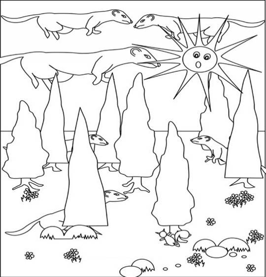 Free coloring and drawings Ferrets in the forest Coloring page