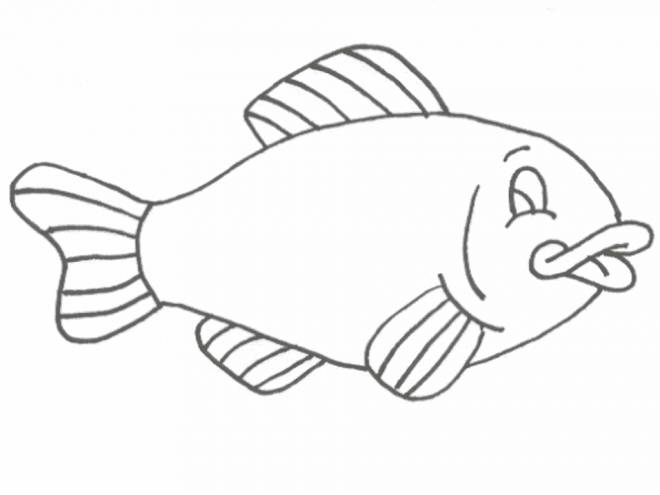Free coloring and drawings Black and white fish Coloring page