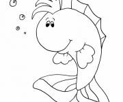 Coloring pages Cartoon fish to color