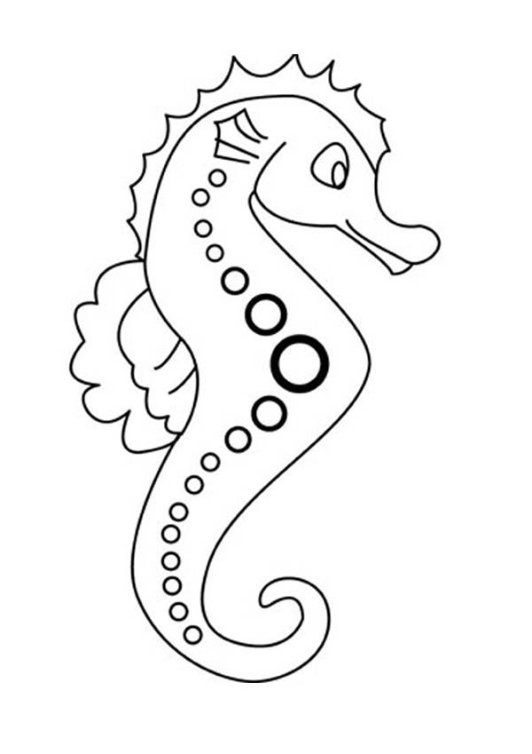 Free coloring and drawings Hippocampus Coloring page