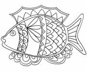 Coloring pages Mandala fish for children
