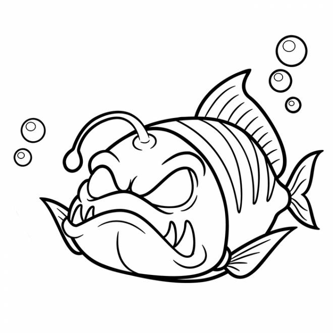 Free coloring and drawings Nasty fish Coloring page