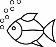 Coloring pages Simple fish and bubbles