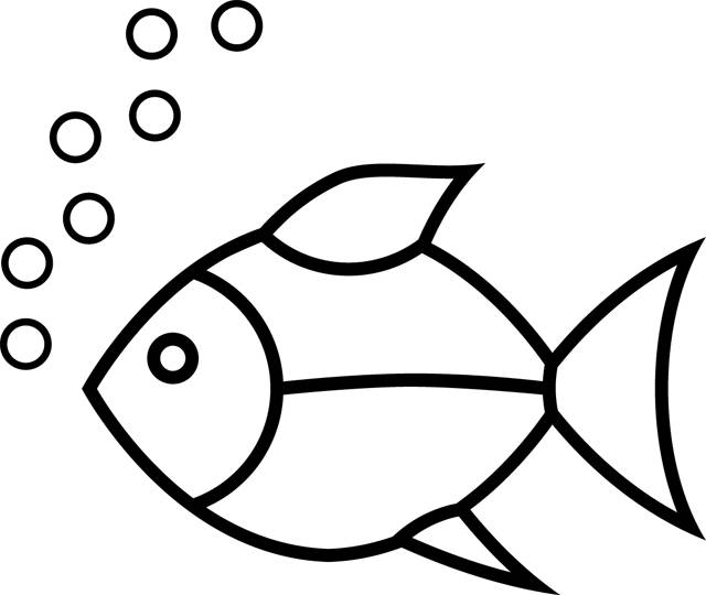 Free coloring and drawings Simple fish and bubbles Coloring page