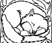 Free coloring and drawings Sleeping fox Coloring page