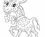 Free coloring and drawings Cute giraffe carrying a flower Coloring page