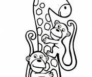 Coloring pages Giraffe having fun with monkeys