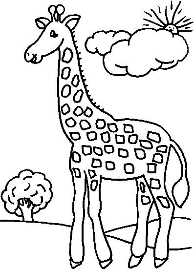 Free coloring and drawings Giraffe in the forest Coloring page
