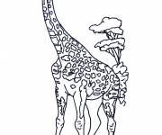 Coloring pages Giraffe in the Savannah