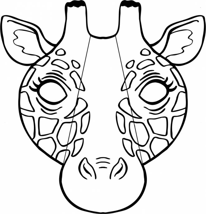 Free coloring and drawings Giraffe mask Coloring page