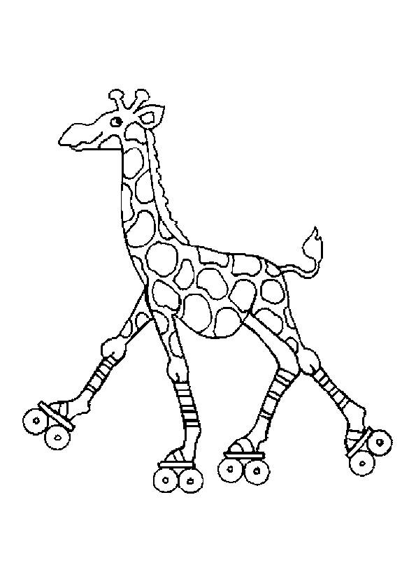 Free coloring and drawings Giraffe playing Coloring page