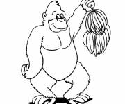 Coloring pages Gorilla and bananas